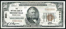 1929 $50 The National Bank Of Brockville, Pa National Currency Ch. #3051