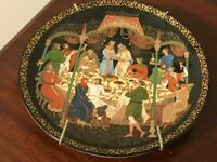 RUSSIAN FAIRY TALE COLLECTOR PLATE #A1956- THE WEDDING FEAST, HANDPAINTED