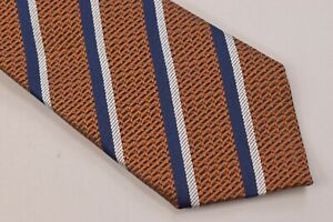 Ermenegildo Zegna NWT Neck Tie In Orange With Blue & White Stripes 100% Silk
