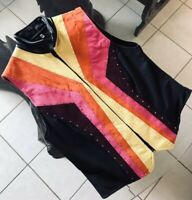 Berry Fit— Multicolor Genuine Leather Suede Western Show Vest . Size  Medium