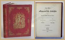Hebel Allemannische Gedichte für Freunde ländlicher Natur und Sitten 1863 xy