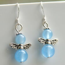 Angel Gemstone Earrings with Sterling Silver Hooks New Aquamarine Drops LB50