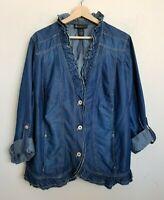 Lane Bryant Plus Jacket Blue Denim Ruffle Collar Button Roll Sleeve Cotton Sz 28