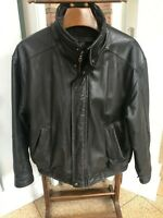 Vintage Members Only Men's Brown Leather Bomber Cafe Racer Jacket Size LARGE