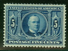 US #326 5¢ dark blue, og, NH, XF, PF certificate