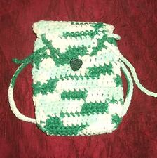 Hand Knit dolly backpack made for American girl & similar Playdolls Greens & wht