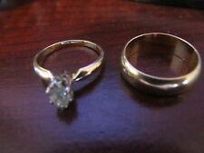Woman's 1/2 CTW Diamond Ring,  Wedding Band Set, Both 14 Kt Y Gold, EC