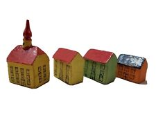 German village, 4 very old German made village buildings, 1 1/4 inches high.