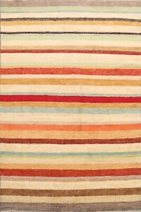 Striped Gabbeh Kashkoli Oriental Area Rug Modern Hand-knotted Home Decor 6'x8'
