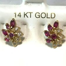 14K Y/GOLD  NATURAL RUBY MARQUISE SHAPE & ROUND DIAMONDS POST EARRINGS .