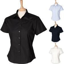 LADIES HENBURY FITTED BLOUSE HB540 OFFICE SMART BUTTONS SHORT SLEEVE WORK SHIRT