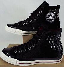 New Womens CONVERSE 8 CT Hi Black Velvet Metal Spikes Shoes $100 141621C Mens 6