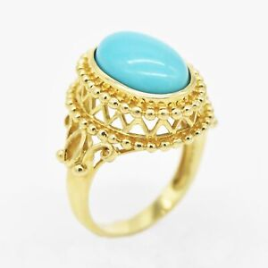 10k Yellow Gold Estate Fancy Oval Turquoise Cocktail Ring Size 7