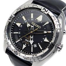 Seiko Prospex Kinetic GMT ** Sun 053 P 1 ** Dial Negro Correa de Cuero Reloj para Hombres Nuevo Y En Caja