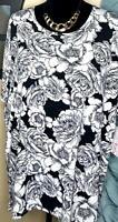 NWT Lularoe Size Small Black w Large White Flowers Pattern Women's Irma Shirt