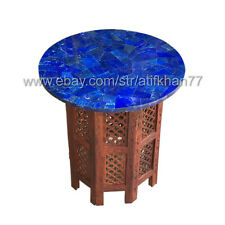 Round Lapis Table Marble Inlay Side Table Top Pietra Dura Modern Home Decor