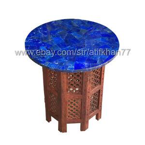 Lapis Lazuli Coffee Table Round Marble Inlay Pietra Dura Living Room Furniture