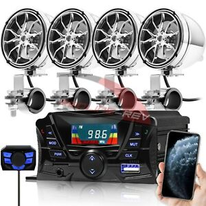 Bluetooth Motorcycle Stereo 4 Speakers Audio Amplifier System AUX USB FM UTV ATV
