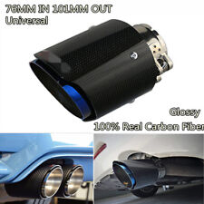 "Half Blue Inlet 3"" 76mm Outlet 4"" 101mm Carbon Fiber Glossy Exhaust Tips Muffler"