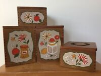Set 4 Vtg Mid Century Woodpecker Japan Wood Painted Wooden Kitchen Canisters