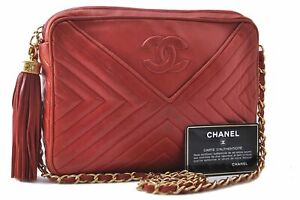 Authentic CHANEL Lamb Skin Tassel Shoulder Cross Body Bag Red CC C1483