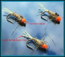 Trout Fly Fishing Flies for sale UK STING GLOW TAIL HARES EAR HOT HEAD X 3 FLIES