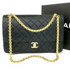 Vintage CHANEL Double Flap 27 Quilted CC Logo Lambskin w/Chain Shoulder Bag/2aIB