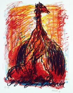 """DDR-Kunst. """"Gejagter Fasan"""". Offsetgrafik Jürgen WENZEL (*1950 D) handsigniert"""