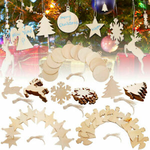 New 10/60x Christmas Wooden Tree Pendant Hanging Ornaments Xmas Party Home Craft