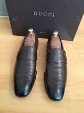 Gucci Mens Brown Leather Loafers GG Interlocking Shoe, Uk 9, Made In Italy