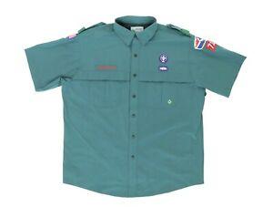 BSA Venturing Adult XL Circle Ten 714 S/S Snap Button Uniform Shirt Green Patch