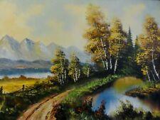 G. Holterman signiert,gr Alpen-Gemälde:TEICH, WEG & GROßER SEE MIT BERG-PANORAMA