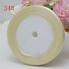 "2Pcs Beige 3/8"" (1Roll 25yds) Silk Satin Ribbon Wedding Decoration Card Gift"