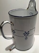 Antique French Enamelware White W blue Flowers, Handle & Spout, Wall Hangar