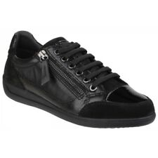 GEOX MYRIA Ladies Womens Soft Suede Leather Zip Lace Up Comfort Trainers  Black a6f90687e00