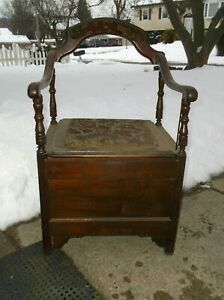 Antique Upholstered Potty Chair With Agate Slosh Pot