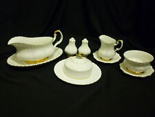 Royal Albert Val D'or Gravy Boat, Butter Dish,Creamer,Sugar Bowl, Salt &Pepper