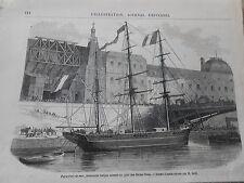 Gravure 1869 - Paris Port de Mer bateau trois mâts amarré au pont Saints Pères