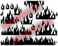 Duracoat Cerakote Flames Stencil Vinyl Paint Camouflage Camo Home DIY Decal Fire