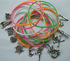 x12 PETER PAN THEME GUMMY BANDS CHARM BRACELETS PARTY BAG FILLERS GIFTS PRIZES