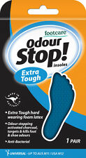 FOOTCARE ODOUR STOP Insoles 1 PAIR universal size mens ladies shoe EXTRA TOUGH