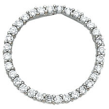 "14K White Gold 0.25 ct Diamond Journey Eternity Circle Pendant Charm 3/4"" 1.1 gr"