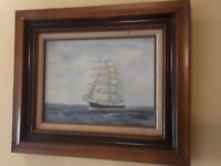 Vintage Oil painting on board, Seascape Sailing Ship in the High Sea Signed 1980