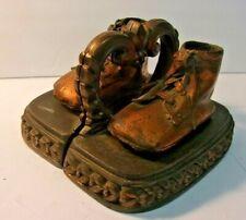 Vintage Bronzed Look Baby Shoe Bookends