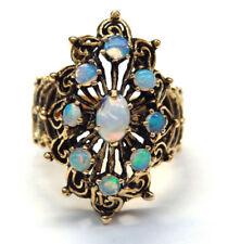 14k Yellow Gold Blue Opal Filigree Antic Ring #E