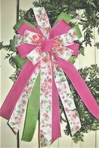 SPRING FLORAL HANDMADE WIRED BOW for DOOR WREATH, SWAG, FENCE POST # 195  rb