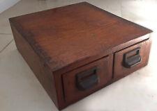 Antique vintage 2 Drawer Wood Box Card File Cabinet