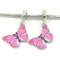 Fashion 2pcs Silver Butterfly European Charm Spacer Beads Fit Necklace Bracelet