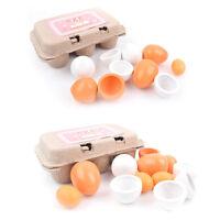 6Pcs Simulation Egg Toy Group Boxed Children Educational Wooden Toy Egg Set