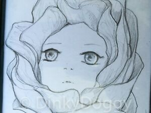 """Camilla d'ERRICO ONE-OF-A-KIND Framed ORIGINAL Pencil DRAWING - """"ROSEY"""" (2014)"""